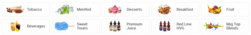 Mig Vapor juice flavours